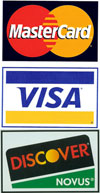 we proudly accept: Visa, MasterCard, and Discover Cards